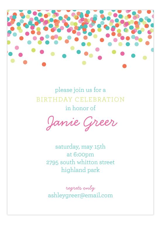 Falling Confetti Pastel Colors Invitation