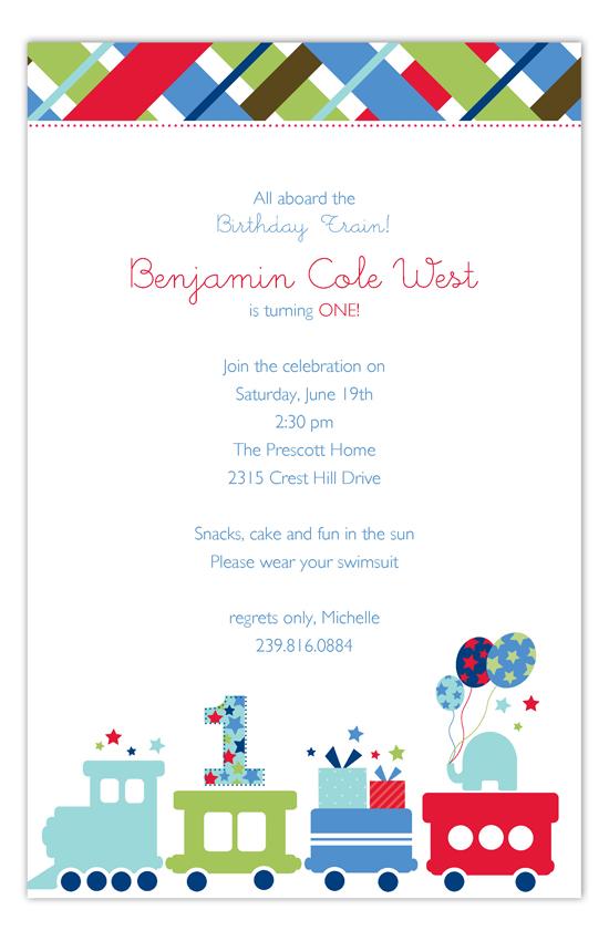 first birthday train invitation
