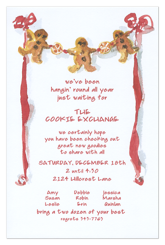Gingerbread Man Invitations Polka Dot Design