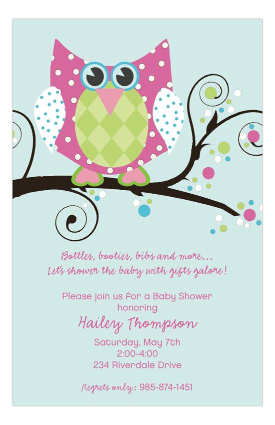 Owl Pink Baby Shower Invitation