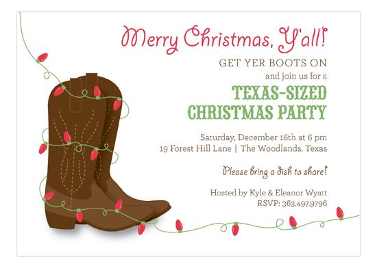 Yeehaw Holiday Invitation Texas Sized Christmas Party Ideas