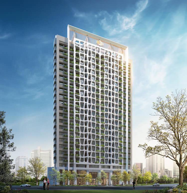 大通大美在建築外觀上,運用有機造型打造植森樹穴,結合22層高樓層銀級綠建築規劃,全案標配Poll-tex防霾紗窗