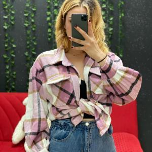 Camicia flanella rosa