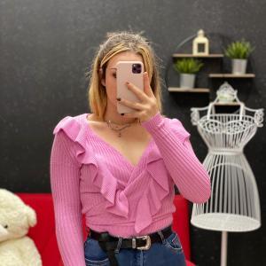 Incrociatina con rouches rosa