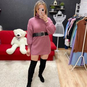 Maglione lungo collo alto rosa