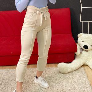 Pantalone con fiocco beige