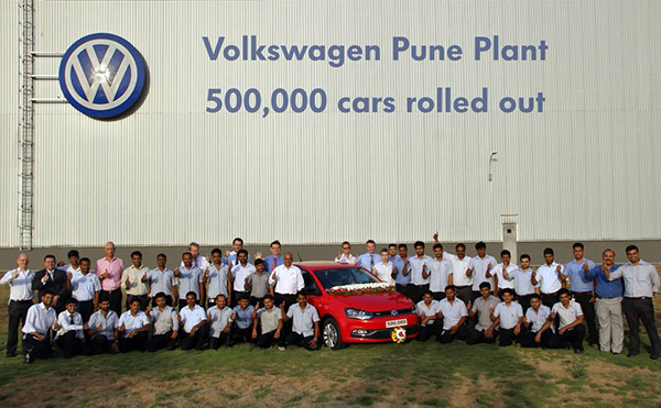 The 500,000th car was produced at Volkswagen India's Pune factory in May 2015