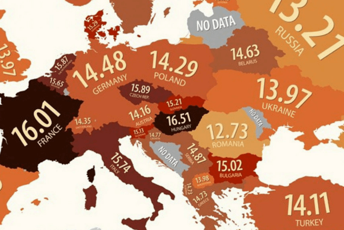 Someone Was Kind Enough To Make A Chart Showing The Average Penis Size In  Every European Country.