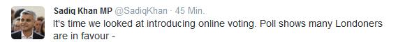 sadiq khan twitter online voting