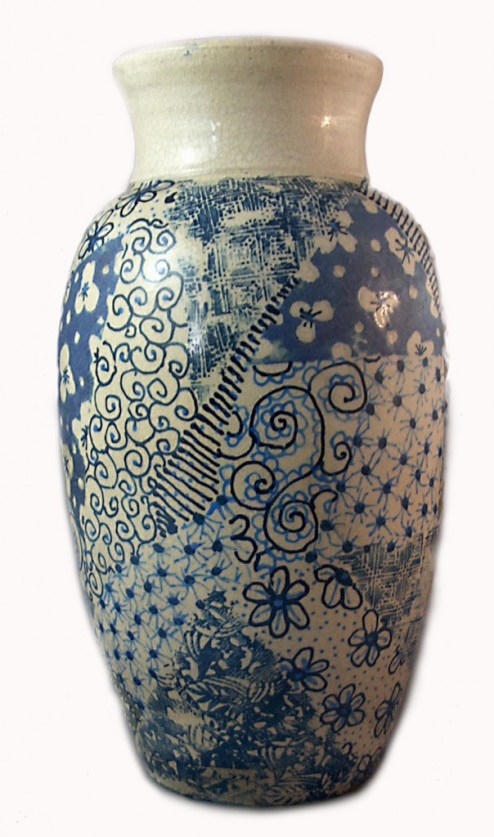 ceramic vase with patchwork underglaze decoration