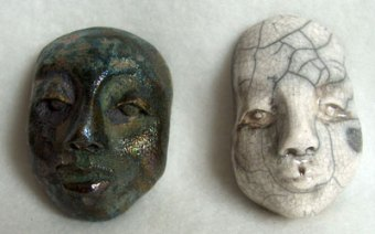 raku fired fceramic face cabochons