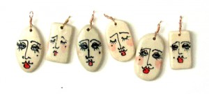 ceramic face pendants
