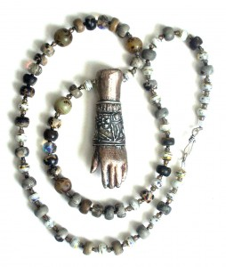 pmc and ceramic hand necklace