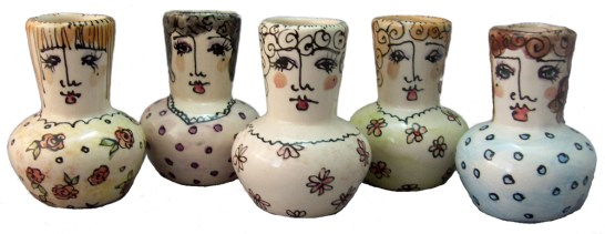 slipcast ceramic people pots