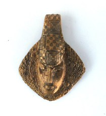 sand cast bronze face pendant