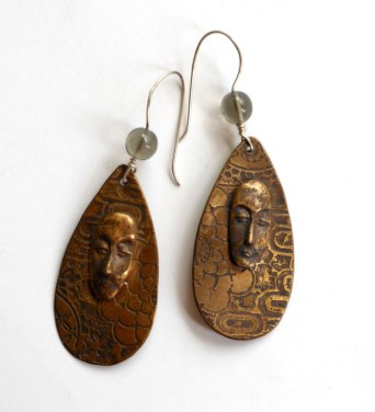 etched and cast bronze earrings