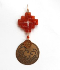 etched bronze copper and carnelian pendant