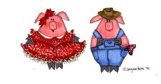 Square dance pigs illustration