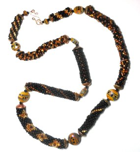 bead crochet necklace with lampwork