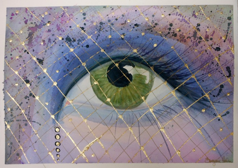 watercolor eye with gold leaf