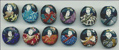 Japanese Girl beads made with polymer clay