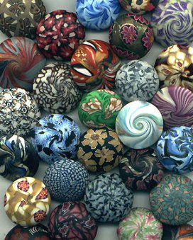 lentil shaped beads made of polymer clay