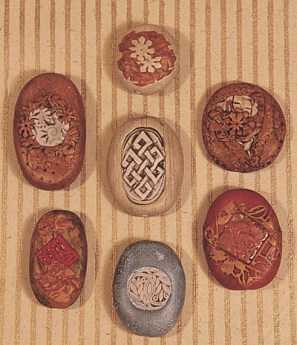 textured beads made of polymer clay