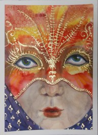 watercolor mask with gold leaf