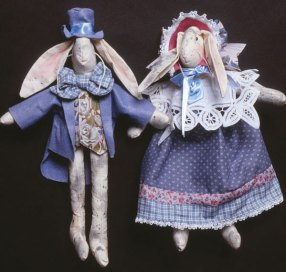cloth bunnies dressed in Victorian Style