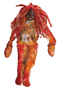 Spirit doll with polymer clay face