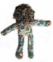 beaded spirit doll with ceramic face Laura Sandoval