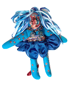 spirit doll with beads and polymer clay face