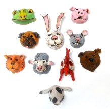 Sherman Oberson miniature polymer clay masks