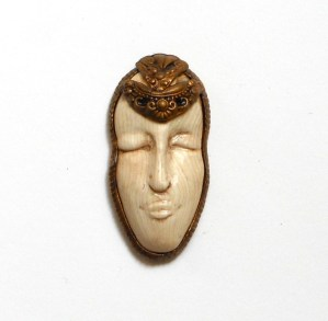 Sarajane Helm miniature polymer clay mask