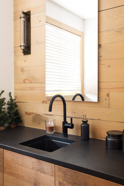 Rustic Farmhouse Bath Vanity Portfolio Polycor Cambrian Black Granite Countertops