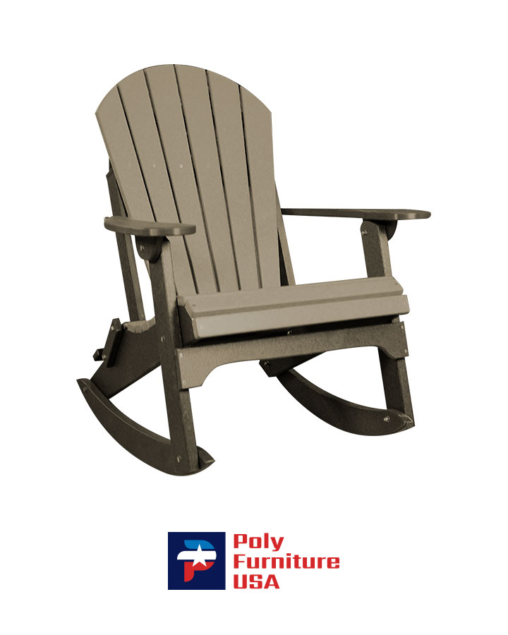 Amish Made Poly Furniture USA Adirondack Rocking Chair Weatherwood