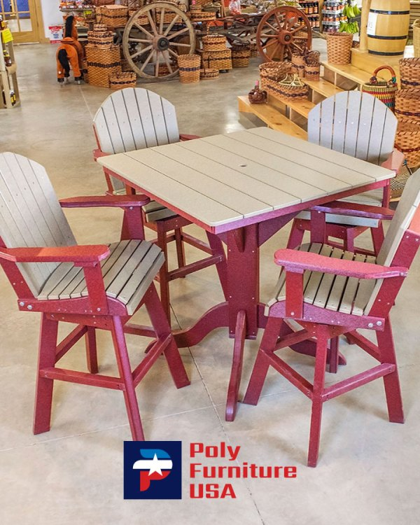Amish Made Bar Height Table And 4 Chairs Set