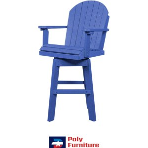 Amish Made Poly Furniture USA Counter Height Swivel Burns Blue