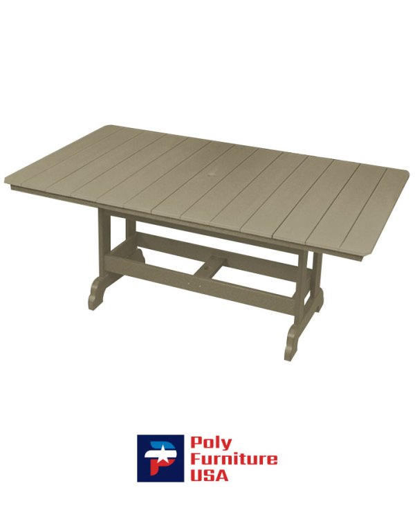 Amish Made Poly Furniture USA 6′ Dining Height Table Weatherwood