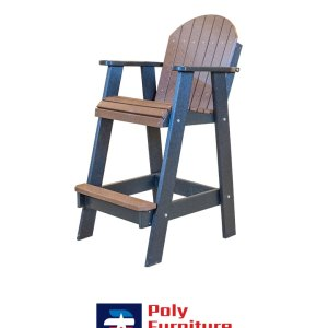 Poly Furniture USA - Bar Height Chair Non-Swivel, Brown on Black