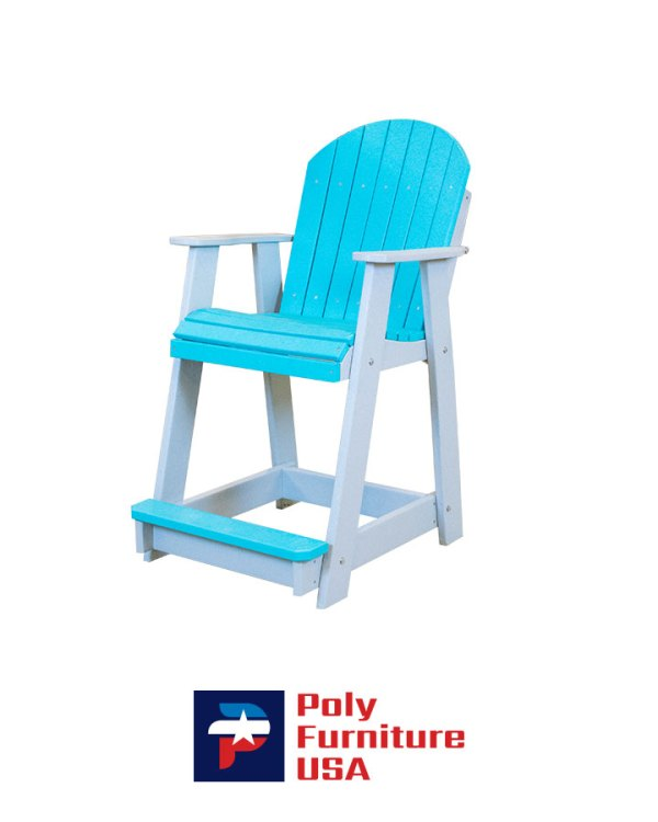 Poly Furniture USA - Counter Height Chair Non-Swivel, Aruba Blue on Light Gray