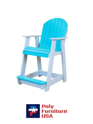 Poly Furniture USA - Counter Height Chair Non-Swivel, Aruba Blue on Light Gray