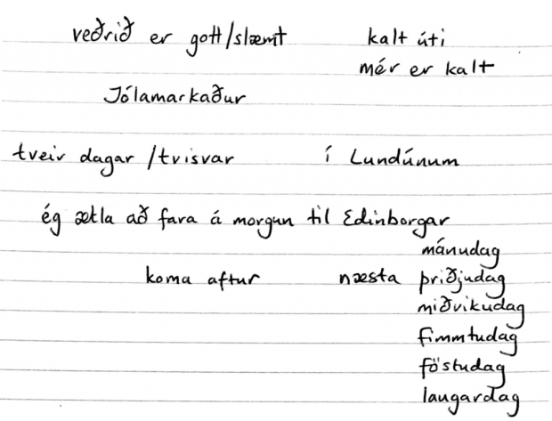 Icelandic pre-lesson prep notes - ensuring I have something to say