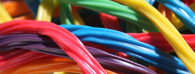 Real-life language can be unpredictable, like this tangle of colourful liquorice sweeties!