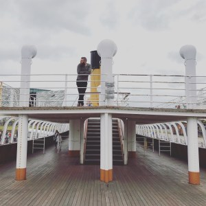 Richard West-Soley aboard the SS Nomadic at Titanic Belfast in July, 2018