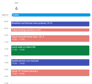 Planning a day of leisure and learning through explicit calendarising