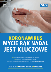 Authentic resources on Covid-19 in Polish - an NHS poster about washing hands.