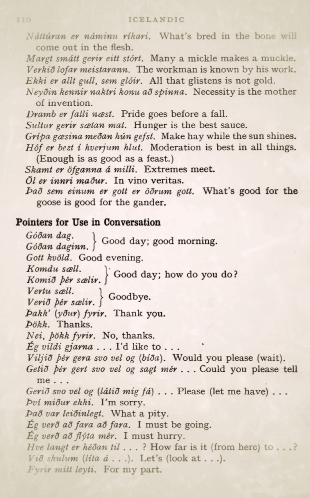 A page from Teach Yourself Icelandic (1986) listing idioms and colloquial phrases - great social glue for your conversations.