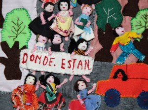 ¿Dónde están?/Where are they? Anon. Chile, early 1980s Photographer, Martin Melaugh (all images © Roberta Bacic), via http://www.latin-american.cam.ac.uk/events/arpilleras-dialogantes/arpillera-conversations