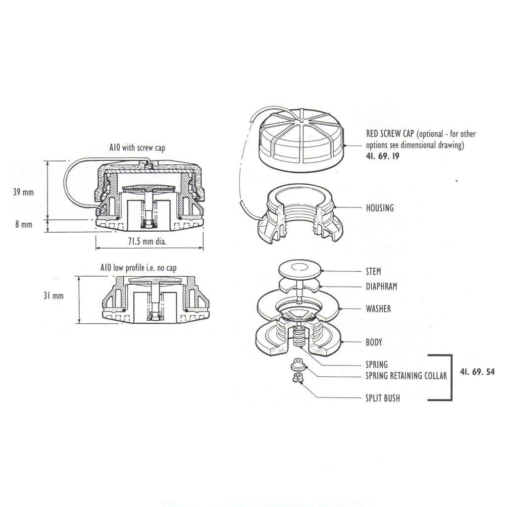 A10 Valve Spring Collar And Split Bush Specify Colour